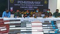 Barang bukti rokok ilegal hasil tangkapan Bea Cukai Riau beberapa waktu lalu. (Liputan6.com/M Syukur)