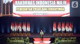 Presiden Joko Widodo memberikan pidato pada Rakornas Indonesia Maju antara Pemerintah Pusat dan Forum Koordinasi Pimpinan Daerah (Forkopimda) di Bogor, Jawa Barat, Rabu (13/11/2019). Forum ini untuk mensinergikan program-program pemerintah pusat dengan daerah. (Liputan6.com/Herman Zakharia)