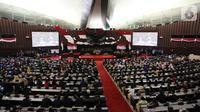 Suasana Rapat Paripurna MPR di kompleks parlemen, Jakarta, Kamis (3/10/2019). Bambang Soesatyo resmi menjadi Ketua MPR periode 2019-2024 setelah Fraksi Gerindra di MPR menyatakan sepakat mendukung mantan Ketua DPR tersebut. (Liputan6.com/Johan Tallo)