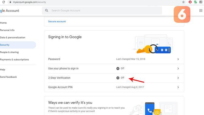 Cara mengaktifkan fitur 2FA di Google. (Liputan6.com/ Yuslianson)