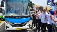 Pemkot Depok Luncurkan Bus DGol. (Foto: Dicky Agung/Liputan6.com).