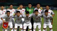 Timnas Vietnam U-23 sebelum melawan Suriah di perempat final Asian Games 2018 di Stadion Patriot Candrabhaga, Bekasi, Senin (27/8/2018). (Bola.com/Dok. INASGOC)