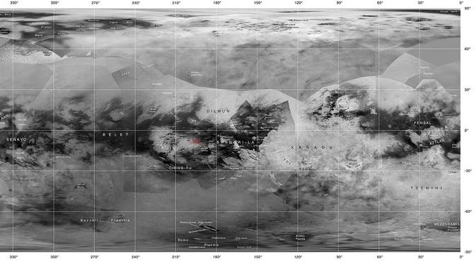 Peta global Titan, si bulan besar Saturnus (NASA)
