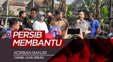 Berita video Persib Bandung membantu korban banjir di Cijambe, Ujung Berung, Bandung.
