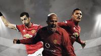 Juan Sebastian Veron, Alexis Sanchez dan Henrikh Mkhitaryan. (Bola.com/Dody Iryawan)