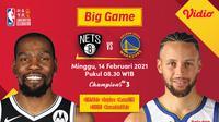 Duel Golden State Warriors Vs Brooklyn Nets, Minggu (14/2/2021) pukul 08.30 WIB dapat disaksikan melalui platform streaming Vidio. (Dok. Vidio)