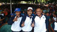 Calon Gurbernur (Cagub) Jawa Timur nomor urut dua, Saifullah Yusuf atau Gus Ipul menghadiri acara peringatan Hari Ulang Tahun (HUT) Serikat Pekerja Seluruh Indonesia Ke 45 tahun.