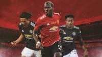 Manchester United - Edinson Cavani, Paul Pogba, Jesse Lingard (Bola.com/Adreanus Titus)