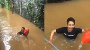 kisah heroik pria terjang banjir demi antar makanan