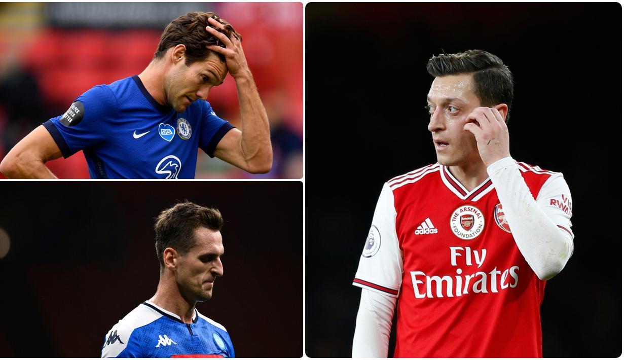 Mesut Ozil mengalami masa sulit di Arsenal pada musim ini. Bukan karena performanya yang menurun akan tetapi statusnya dibekukan oleh klub karena hubungannya yang buruk dengan sang pelatih. Berikut 4 pemain yang tengah dibekukan di timnya pada musim ini. (kolase foto AFP)