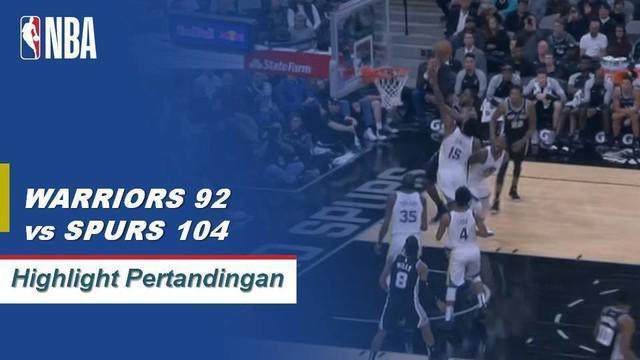 LaMarcus Aldridge mencetak double-double dengan 24 poin dan 18 rebound untuk memimpin Spurs menang 104-92 atas Warriors.