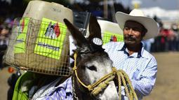 Seorang pria membawa keledainya yang dihias saat mengikuti National Donkey Fair di Otumba, Meksiko (1/5). Acara tahunan ini diikuti sekitar 7.000 orang. (AFP Photo/Pedro Pardo)