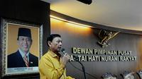 Ketua Umum Partai Hanura Wiranto saat memberi sambutan dalam HUT ke-8 hanura, Jakarta, Minggu (21/12/2014) (Liputan6.com/ Andrian Martinus)