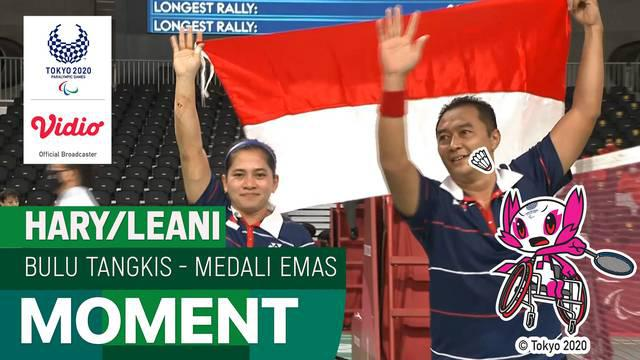Berita video highlights laga perebutan medali emas di cabang olahraga bulutangkis nomor ganda campuran kategori SL3-SU5 antara pasangan Indonesia Hary Susanto / Leani Ratri Oktila dengan wakil dari Prancis, Minggu (5/9/2021) siang hari WIB.