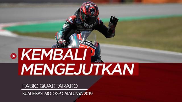 Berita video hasil kualifikasi MotoGP Catalunya 2019, di mana Fabio Quartararo kembali mengejutkan dengan meraih pole position, dan Valentino Rossi menduduki start dari posisi ke-5.