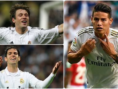 Banyak pemain bintang yang sukses menorehkan karier gemilangnya bersama klub elite Real Madrid, namun ada juga pemain yang meredup setelah berseragam Real Madrid. Berikut ini beberapa pemain yang meredup setelah bergabung bersama Real Madrid. (kolase foto AFP)