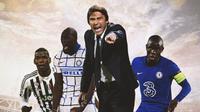Ilustrasi - Antonio Conte dikeliling Pogba, Lukaku, Kante (Bola.com/Adreanus TItus)