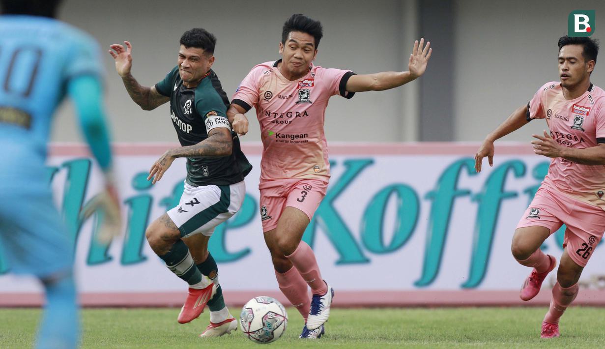 Persikabo 1973 dan Madura United harus puas berbagi angka dalam duel pekan pertama BRI Liga 1 2021/2022 di Indomilk Arena, Tangerang, Jumat (3/9/2021). (Foto: Bola.com/Ikhwan Yanuar)