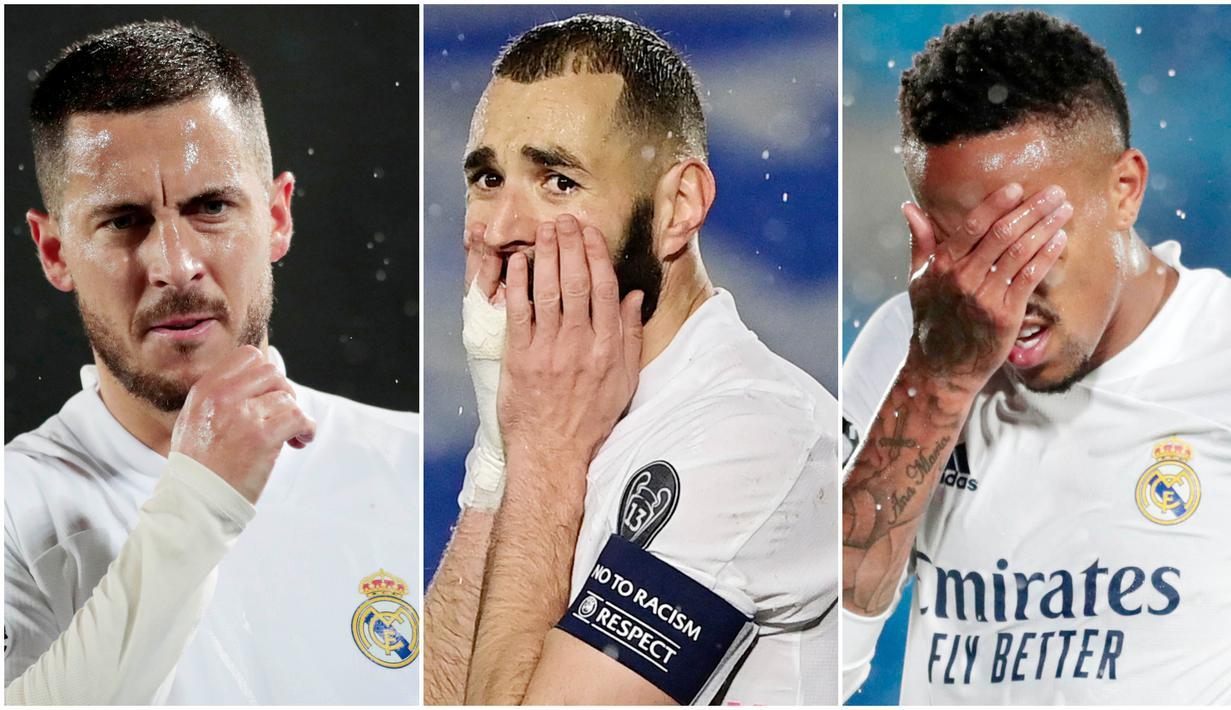 Para penggawa tim bertabur bintang Real Madrid tampak kecewa usai gagal meraih poin penuh kala menjamu Chelsea pada laga leg pertama semifinal Liga Champions. Berikut ragam ekspresi kecewa skuat Los Blancos.