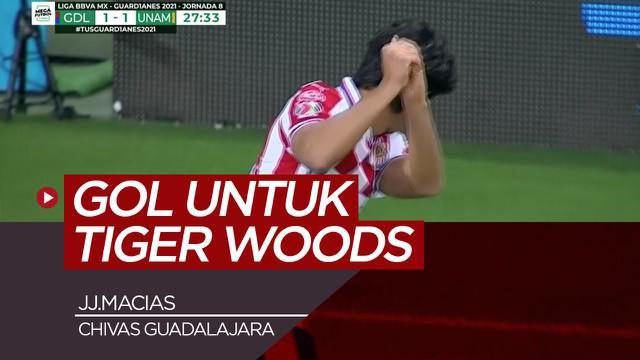Berita video selebrasi gol ala pegolf dari JJ.Macias yang dipersembahkan untuk Tiger Woods.