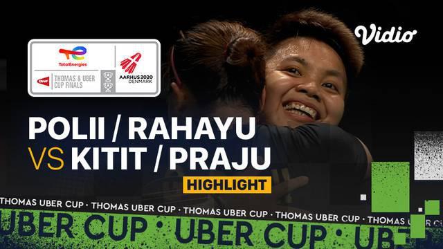 Berita video highlights pertandingan kedua Indonesia vs Thailand di perempat final Piala Uber 2020, di mana Greysia Polii / Apriyani Rahayu meraih kemenangan, Jumat (15/10/2021) dinihari WIB.