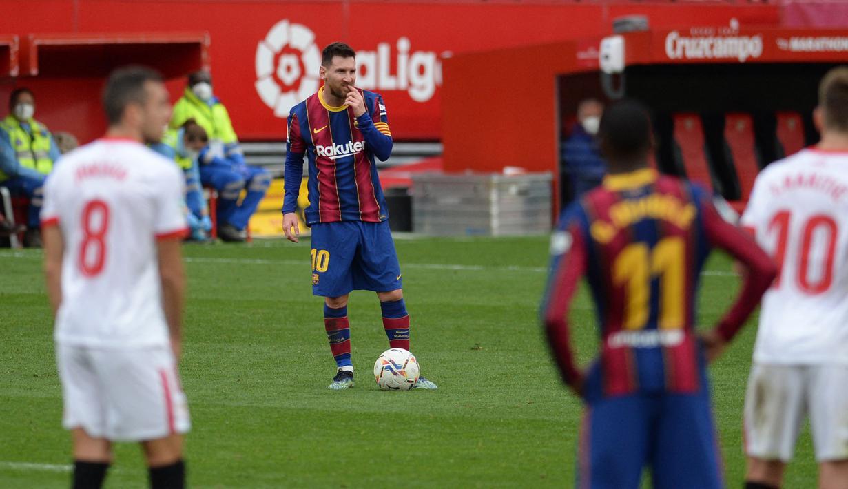 Lionel Messi tampil menjanjikan saat Barcelona bersua Sevilla. Messi mencetak satu gol dan satu assist, sekaligus membawa Barca menang 2-0. (Foto: AFP/Cristina Quicler)