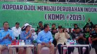 Capres Prabowo mendapat dukungan dari pengemudi ojek online (Ojol). (Liputan6.com/Achmad Sudarno)