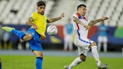 Gol semata wayang Tim Samba dicetak Lucas Paqueta pada menit ke 46. (AP/Bruna Prado)