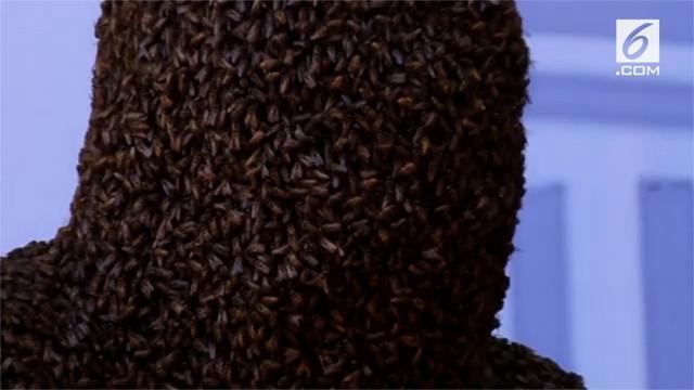 Pria asal India berhasil pecahkan rekor dunia karena berhasil menutupi wajahnya dengan 60.000 lebah selama 4 jam. Ia telah berlatih melakukan aksi tersebut sejak kecil.