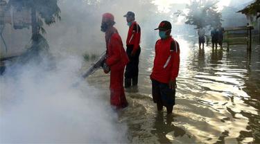 Foging atau pengasapan di wilayah terdeteksi DBD. (Foto: Liputan6.com/Muhamad Ridlo)