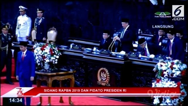 Presiden Joko Widodo (Jokowi) menyampaikan Pidato dalam rangka Penyampaian RUU APBN Tahun Anggaran 2019 di hadapan anggota MPR, DPR dan DPD RI.