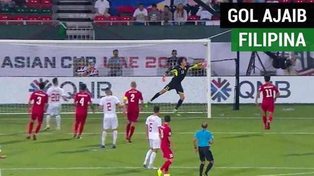 Berita video momen gol tak terduga Filipina yang bisa dikatakan ajaib saat menghadapi Kyrgyzstan di Piala Asia 2019, Rabu (16/1/2019).