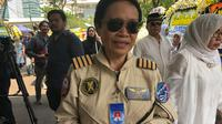 Kapten Esther Gayatri usai melayat BJ Habibie. (Liputan6.com/Ika Defianti)