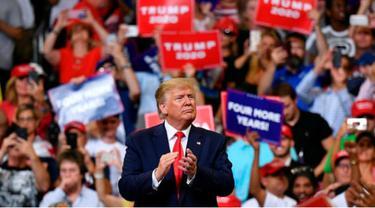 Donald Trump tampil dalam kampanye perdana untuk maju ke pilpres AS 2020 (AFP/Mandel Ngan)