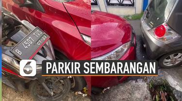 Jangan pernah parkir sembarangan di depan rumah orang karena bisa berbuntut panjang.