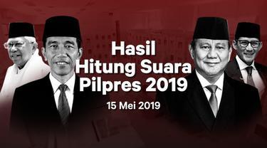 Berikut hasil hitung suara Pemilu 2019 yang sudah masuk di situs pemilu2019.kpu.go.id pada Rabu 15 Mei 2019.