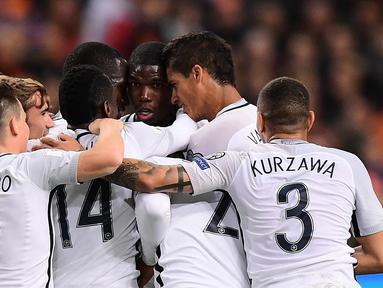 Paul Pogba menjadi penentu kemenangan 1-0 Prancis atas Belanda pada pertandingan lanjutan Grup A Kualifikasi Piala Dunia 2018 zona Eropa, di Amsterdam ArenA, Selasa (11/10/2016) dini hari WIB. (AFP/Emmanuel Dunand)