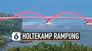 Jembatan Holtekamp telah rampung dikerjakan. Infrastruktur itu disebut akan jadi ikon baru kota Jayapura.