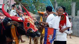 Peserta menyiapkan kerbau untuk balapan dalam Festival Pchum Ben di provinsi Kandal, Rabu (20/9). Balap kerbau ini diselenggarakan sebagai pertanda berakhirnya Festival Pchum Ben yang merupakan upacara kematian bagi warga Kamboja. (AP Photo/Heng Sinith)