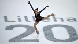 Atlet Rusia, Polina Tsurskaya, beraksi dalam final Ladies' Figure Skating Free Skating Olimpiade Musim Dingin Remaja 2016 di Hamar Olympic Amphitheater, Lillehammer, Norwegia, (16/2/2016). (AFP/Youth Information Service (YIS)/IOC /Jon Buckle)