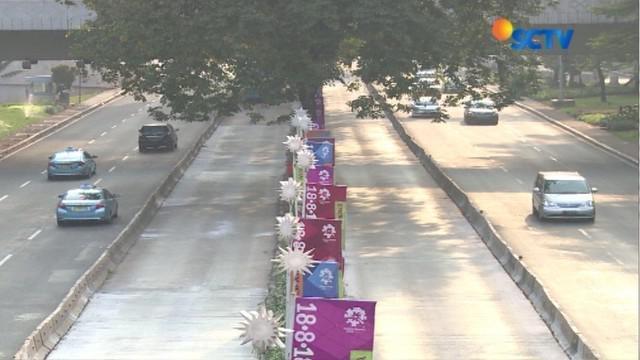 H-4 jelang Lebaran 2018, jalanan protokol Ibu Kota terpantau lengang seperti di Simpang Susun Semanggi dan Jalan Jenderal Sudirman.