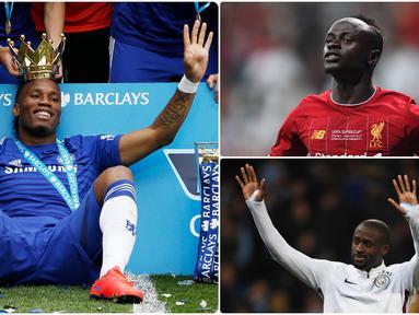Didier Drgoba menjadi pemain asal benua Afrika yang sukses di kancah Premier League. Selain Drogba, ada beberapa pemain asal Afrika lain yang juga sukses di kompetisi liga Inggris. Berikut Didier Drogba dan pemain asal benua Afrika yang sukses di Premier League. (kolase foto AFP)