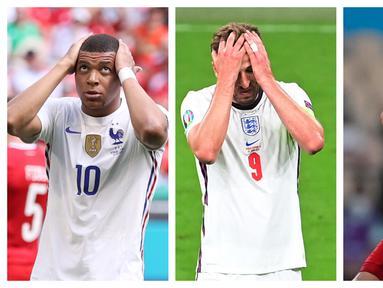 Fase grup Euro 2020 (Euro 2021) telah usai dan sejumlah tim unggulan berhasil melaju ke fase knock out. Meski demikian ada beberapa bintang yang belum mampu menunjukkan kehebatannya di fase grup. (Foto: AP & AFP)