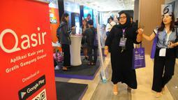 Suasana pameran pada ivent Mekari, Jakarta, Kamis (25/4). Bank Mandiri berharap dapat memperkuat kapasitas UKM dalam mengembangkan bisnis melalui pemanfaatan teknologi digital, khususnya digital banking yang bisa memberikan kemudahan transaksi dan efisiensi usaha. (Liputan6.com/Angga Yuniar)