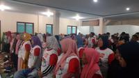 Sekitar 1.000 an massa berbagai aktifis buruh, tani, santri di Ciamis siap memenangkan Jokowi (Liputan6.com/Jayadi Supriadin)