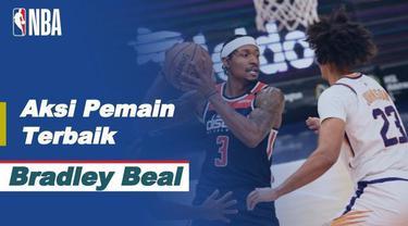 Berita video pemain terbaik NBA hari ini, Selasa (12/1/2021) yaitu bintang Washington Wizards, Bradley Beal, saat menaklukkan Phoenix Suns.