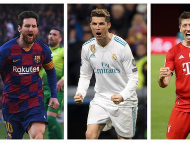 Liga Champions musim 2020/2021 ini telah memasuki babak semifinal. Empat tim tersisa berpacu untuk lolos ke final dan menjadi juara dengan mengandalkan para striker mereka untuk mencetak gol. Berikut 5 pencetak gol terbanyak di fase semifinal dan final. (Kolase Foto AFP)