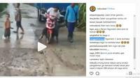 Emak-Emak Pakai Matik, Jalanan Lagi Dicor Dilibas Juga (foto:instagram)