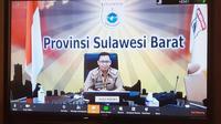 Juru Bicara Gugus Tugas Penaganan Covid-19 Sulbar Safaruddin Sanusi saat video conference (Abdul Rajab Umar/Liputan6.com)