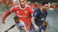 Ilustrasi - Cristiano Ronaldo, Raphael Varane, Lionel Messi, Neymar (Bola.com/Adreanus Titus)